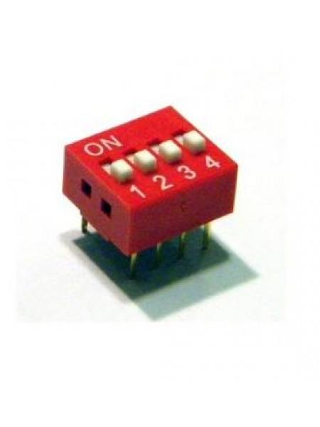 DIP переключатель 4pin красный (dip switch)