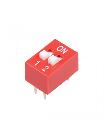 DIP переключатель 2pin красный (dip switch)