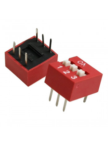DIP переключатель 3pin красный (dip switch)