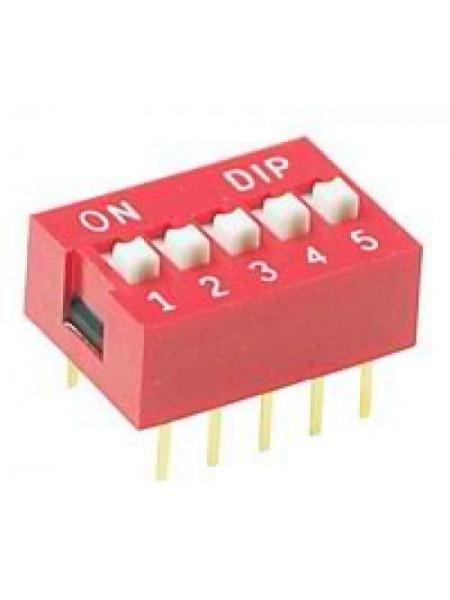 DIP переключатель 5pin красный (dip switch)