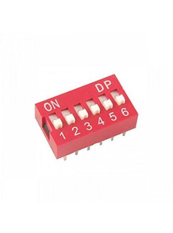 DIP переключатель 6pin красный (dip switch)