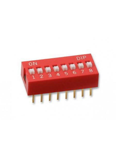DIP переключатель 8pin красный (dip switch)