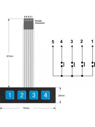 Матричная мембранная клавиатура 1х4