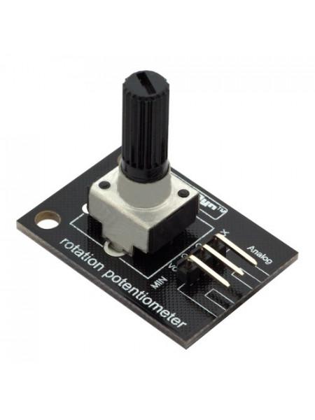 Потенциометр с вращением (переменный резистор) 10КОм, угол вращения 300гр.