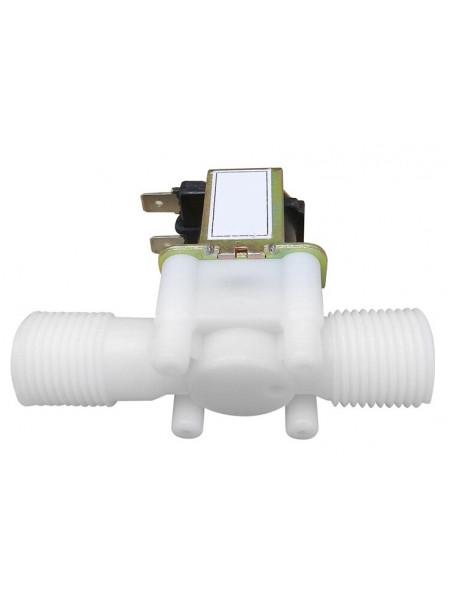 """Электромагнитный водопроводный клапан 1/2 """" пластик 12В"""